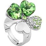 Le Premium® Vier Blatt Klee Mode-Fingerring herzförmigen Swarovski Peridot Grün kristalle (einstellbarer Größe)