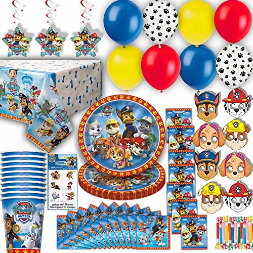 HeroFiber Paw Patrol Party for 8 - Plates, Cups, Napkins, Balloons, Masks, Loot Bags, Hanging Decorations, Tattoos, Table Cover, Party Blowouts - Paw Patrol Party Decorations and Supplies]()