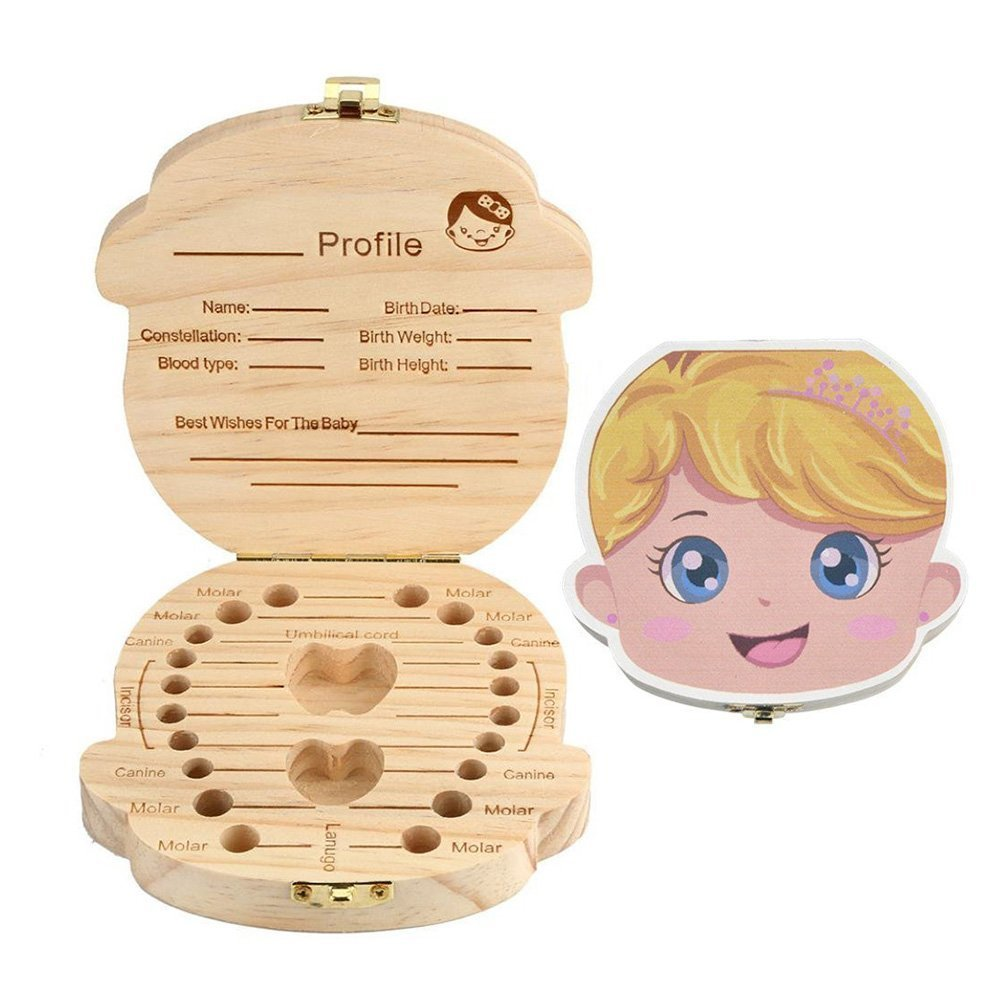 Leisial Storage Box to Keep Milk Teeth In - Wooden Box, Commemorative Souvenir for Girls (English) 12.5*12.5*2.5cm Boy