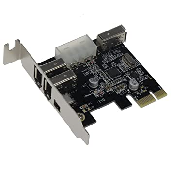 SEDNA - PCIe (PCI EXpress) 3+1 Ports 1394A (Firewire) Adapter card (VIA) (3E1I, 2x 6 Pin + 1 x 4 Pin external port) with low profile bracket