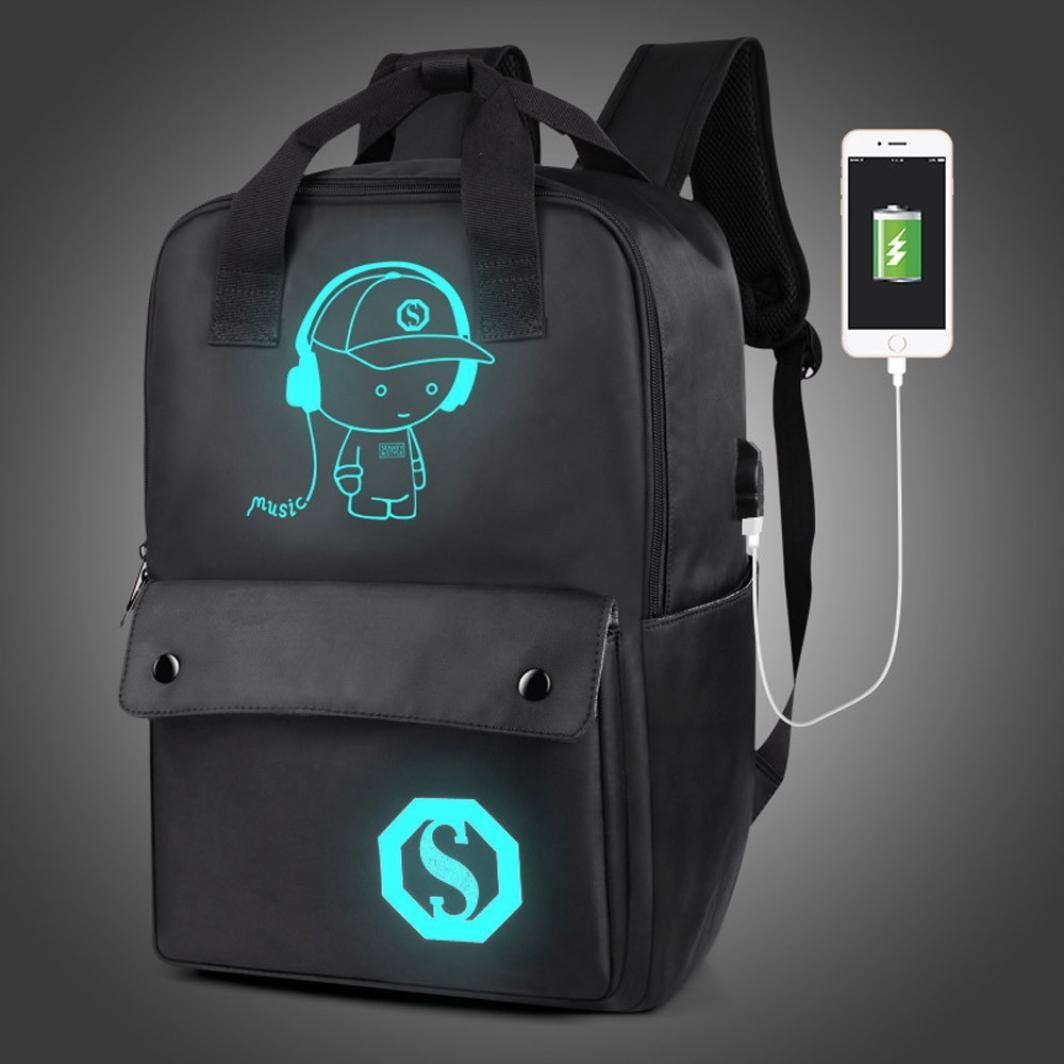 Gotd Large Unisex Teenagers USB External Charging Laptop Noctilucent Cartoon School Bags Student Backpack (Black)