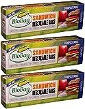 BIOBAG SANDWICH BAGS,RESEAL,COMP, 25 CT (Pack of 3)