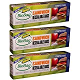 BIOBAG SANDWICH BAGS,RESEAL,COMP, 25 CT (Pack of 3)