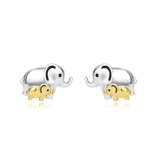 YFN 925 Sterling Silver Lucky Cute Elephant Stud Earrings for Women Girls Kids (Elephant earrings) fYSX9Apu