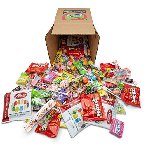 Candy Mix - Your Favorite Mix Of Brand Name Candy! - 3 Pound Box of Gummi Bears, Tootsie Rolls, Skittles, Lemon Heads, Jaw Busters & More By Snackadilly (In a 6 inch cube box)