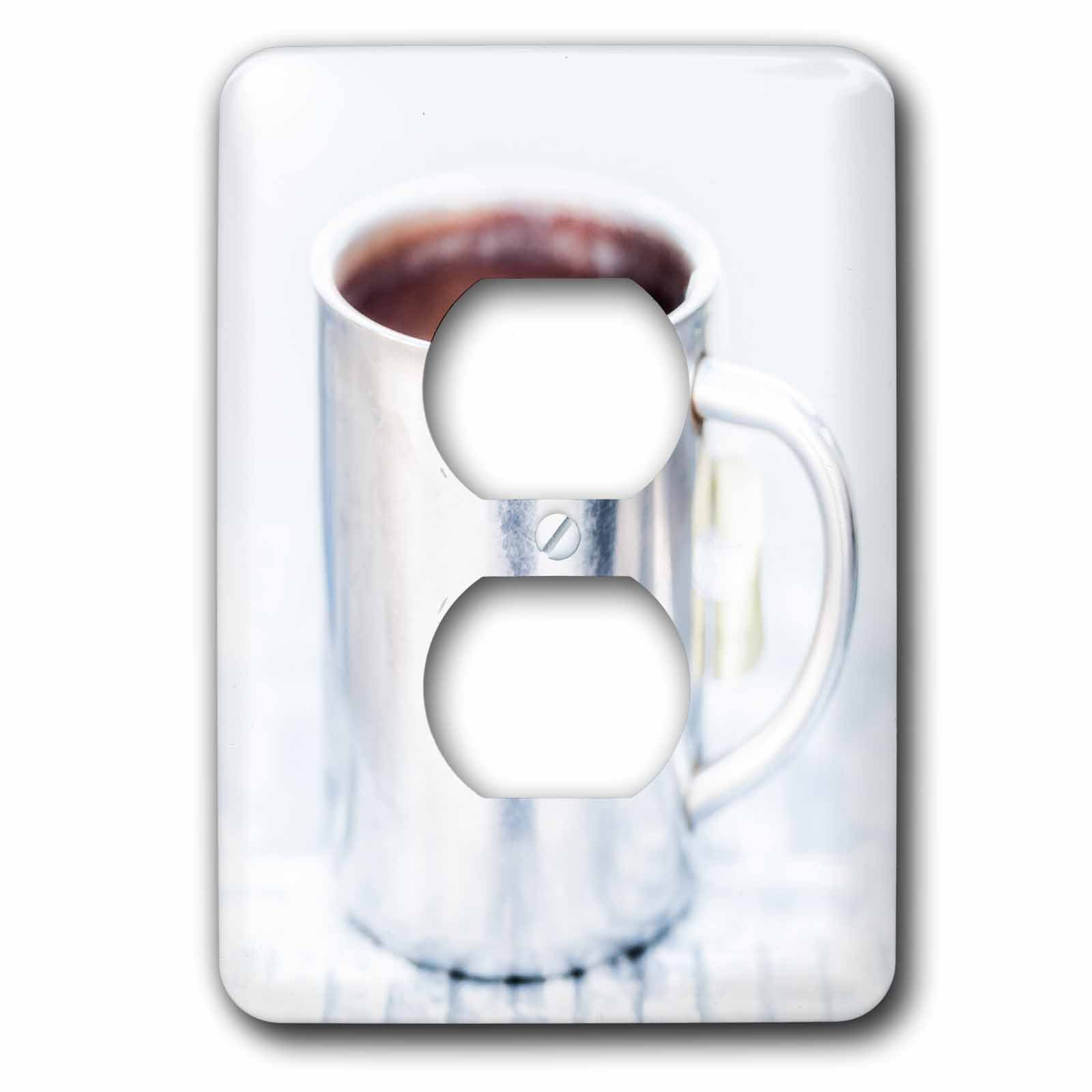3dRose Alexis Photography - Objects - White aluminum coffee mug against the white background - Light Switch Covers - 2 plug outlet cover (lsp_272291_6)