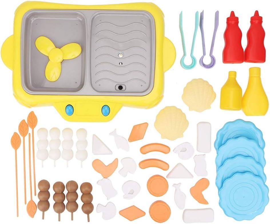 Juegos de simulación Juguete de Cocina Simulación de niños Horno eléctrico Barbacoa Giratorio Hot Pot Juego de Roles Juguete para niños y niñas(Amarillo)