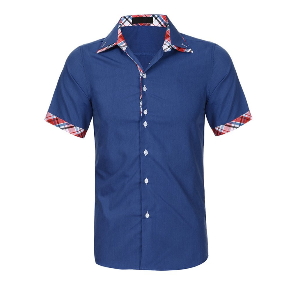 Mens Personality Printing Letter Short Sleeve,G-Real 2019 New Summer Double Collar Slim Patchwork T-Shirt