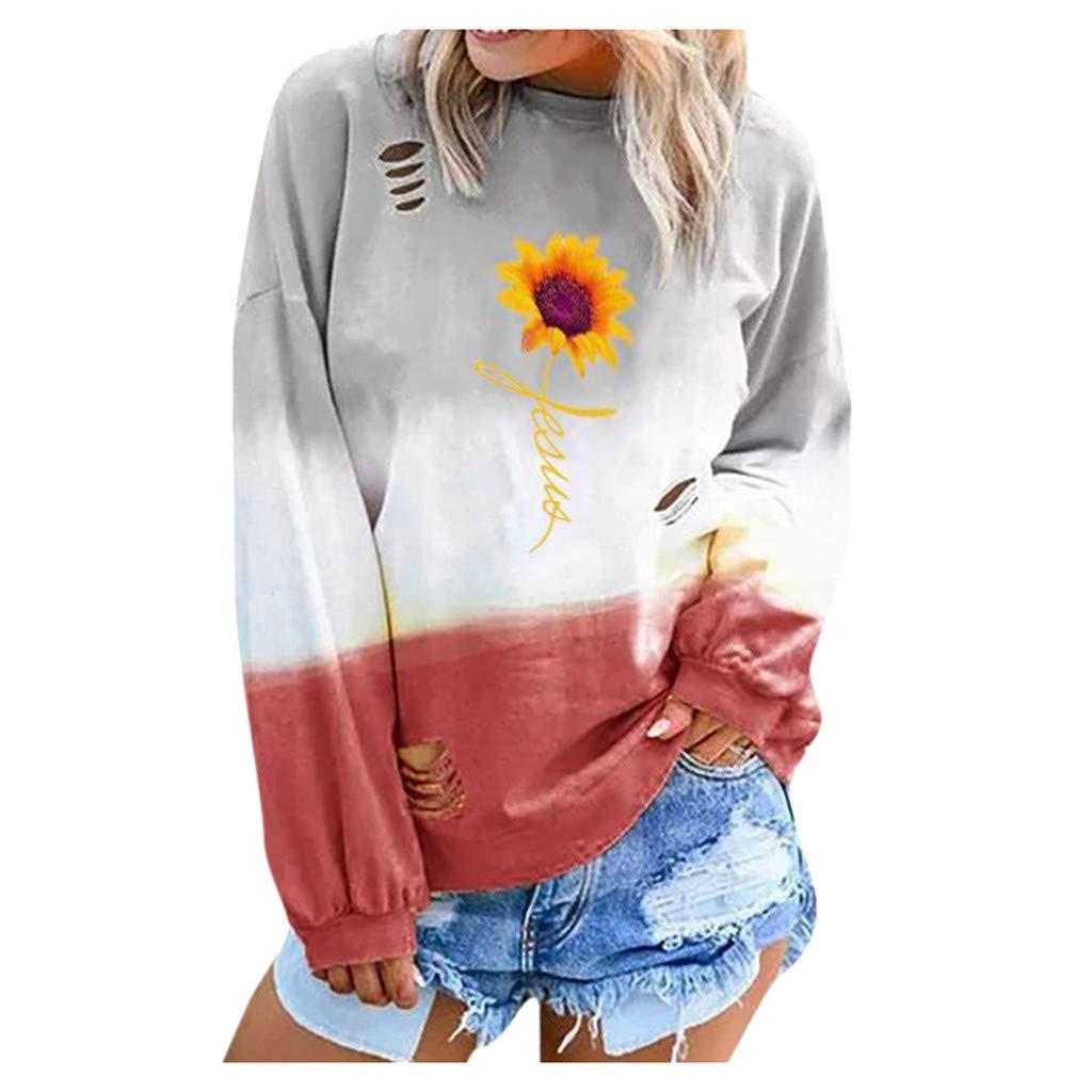 LONGDAY Long SleeveSweatshirt Colorblo Tie Dye Print Casual Print T Shirt Looser by LONGDAY-Women Tops