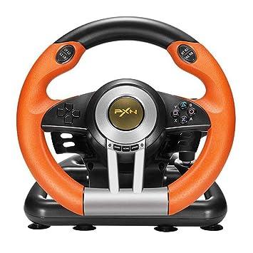 LKJCZ Carreras en el Volante 180 Grados Rotación Controlador de Juegos Joysticks de vibración con Pedal Plegable para PC PS3 PS4 Xbox One Todo en uno ...