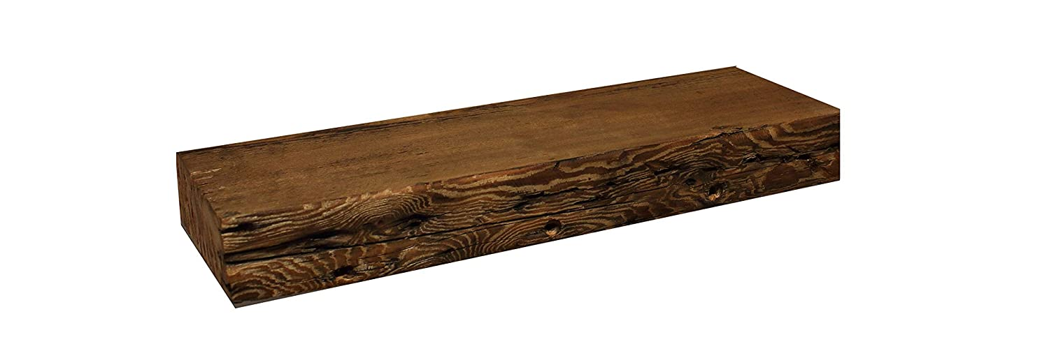 Floating,Solid Reclaimed Barn Wood with Hardware Modern Timber Craft 12 W x 7 D x 2 3//4 H Rustic Fireplace Mantel Shelf