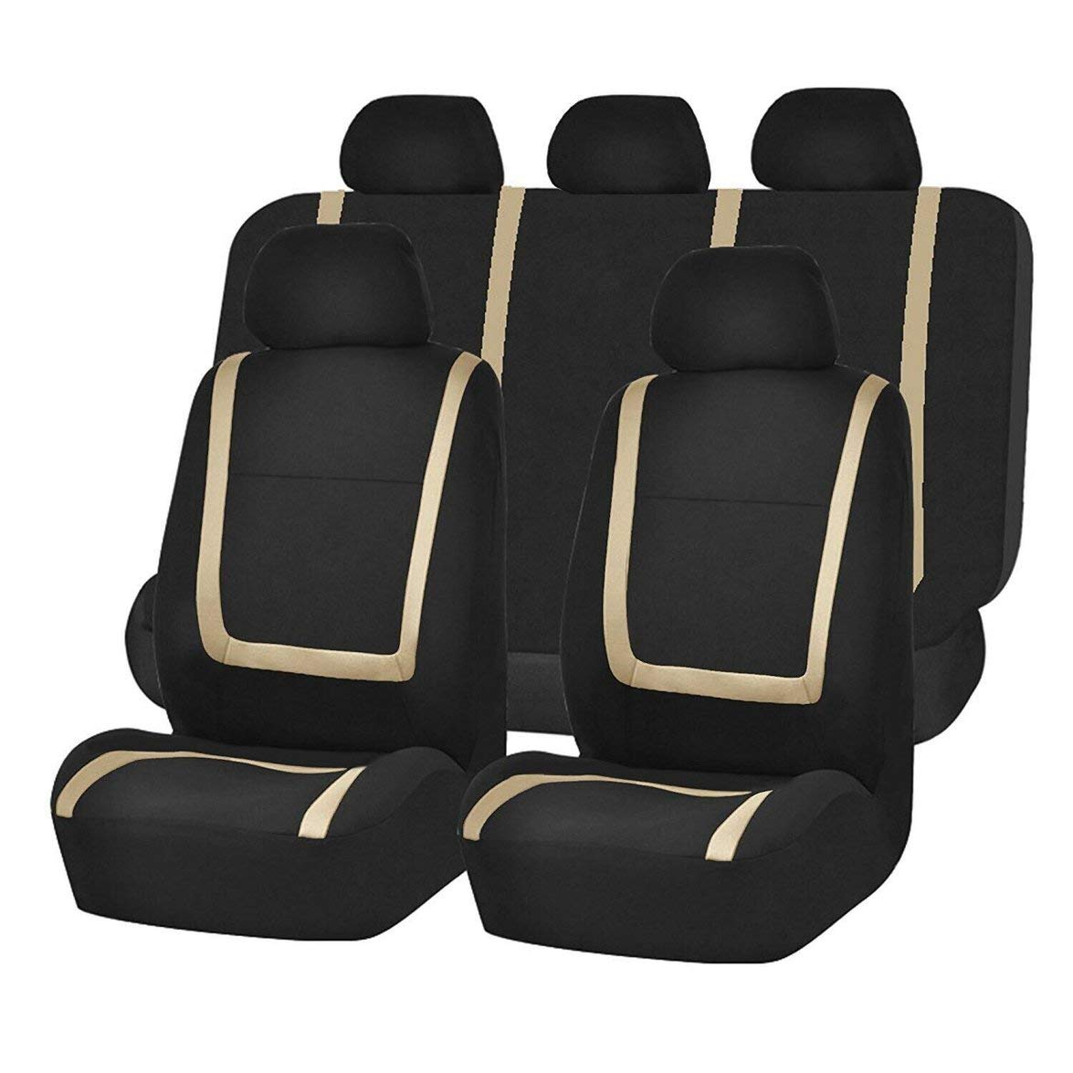 Kongqiabona 9pcs/Set Fashion Striped Car Seat Covers Dustproof Washable Seat Protectors Universal Full Seat Covers for Auto Cars