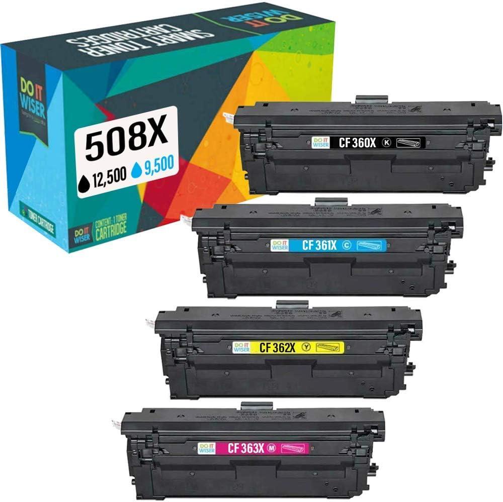Do it wiser 508X CF360X Cartuchos de Tóner Compatibles para HP Color Laserjet M552 M552dn M553n M553dn M553x M577 M577c CF361X CF362X CF363X (4 Pack)