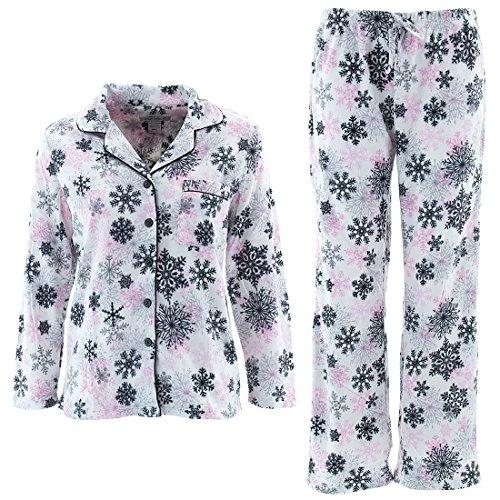 Emme Jordan Snowflakes Womens' White Pink Coat-Style Pajamas M (Coat Style Pajamas)