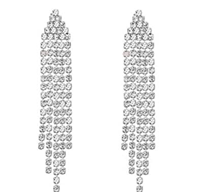 fbb8b5d8f81e Image Unavailable. Image not available for. Color  Clip on Rhinestone  Dangle Earrings High Drama Best 5 Strand Multi Row ...