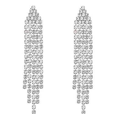 68f0ca30a Amazon.com: Clip on Rhinestone Dangle Earrings High Drama Best 5 Strand  Multi Row Movie Star Glamour: Strands Of Beads: Jewelry