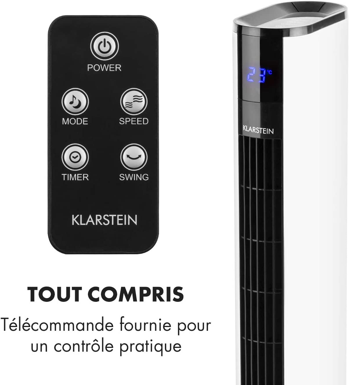 Affichage temp/érature Panneau Tactile 3 Vitesses 3 Modes Ventaliteur Tour Ventilateur sur Pied T/él/écommande Oscillation 90/°C KLARSTEIN Skyscrapper 3G Rouge