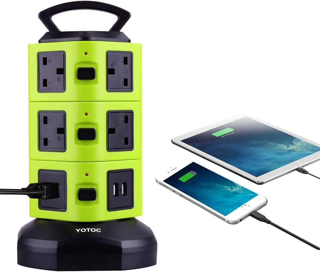 Power Strip,YOTOC 10 Way Outlet Multi Plug Electric Socket Extension Lead Tower Surge Protector with Retractable 3m//9.8ft Power Cable and 4 USB Built-in Safety Shutter Green