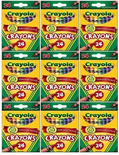 Crayola 24 Count Box of Crayons Non-Toxic Color Coloring School Supplies (9 Packs) by Crayola
