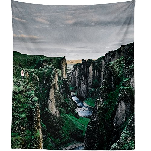Hanging Tapestry - Valley Mountain - Photography Home Decor Living Room - 51x60in ()