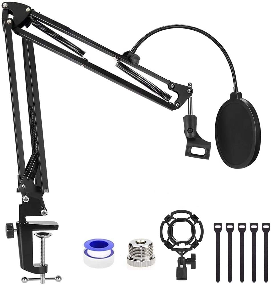 Professional Adjustable Desktop Microphone Stand Suspension Boom Scissor Arm Stand for Blue Yeti Snowball Ice AT2020 Mic Stand with Mic Pop Filter Radio Broadcasting and Recording