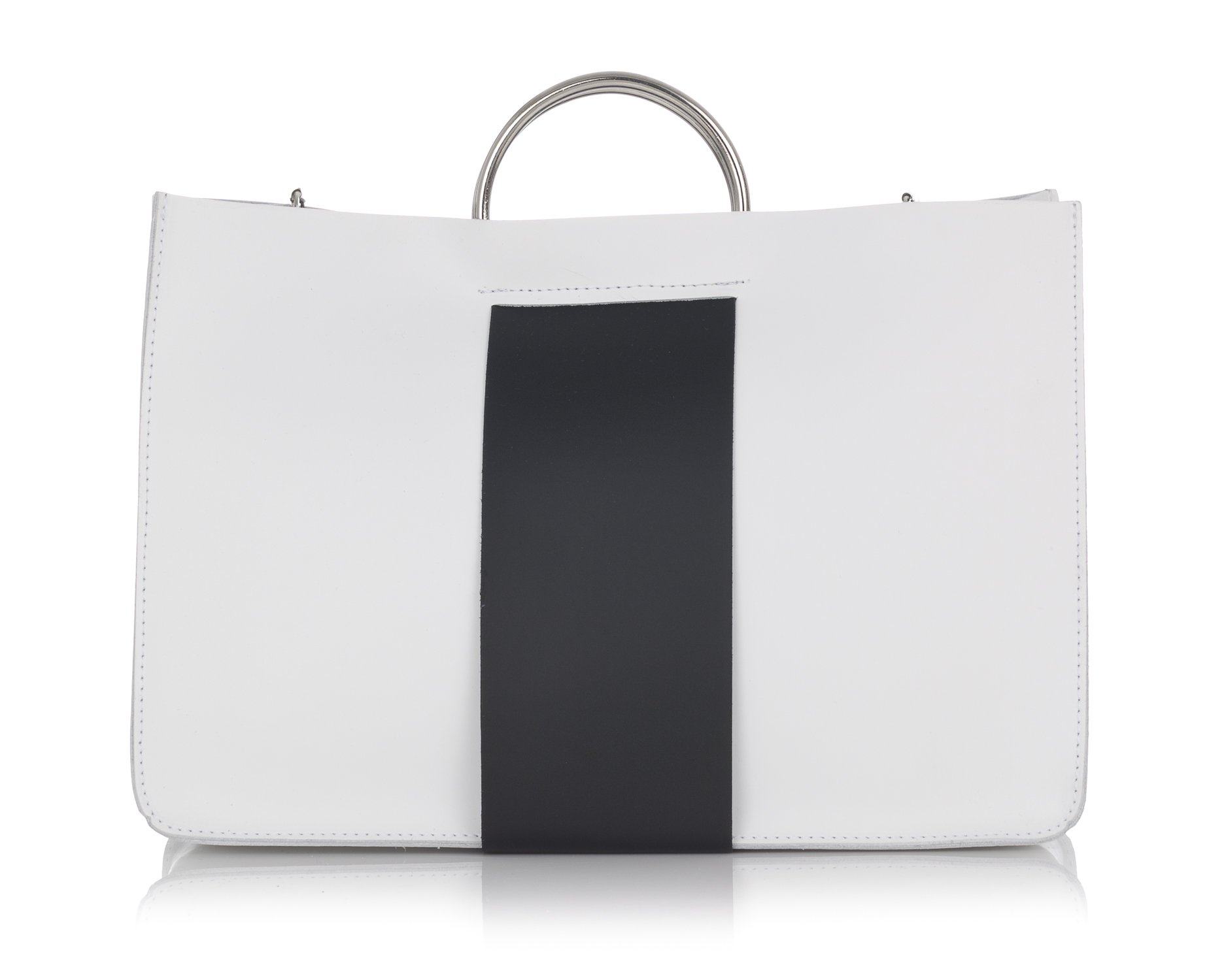 Laura Moretti - Leather bag with strip in the middle (HANDBAG style) by Laura Moretti