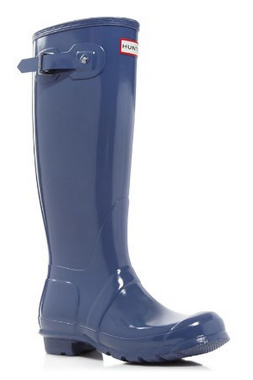 Hunter Original Tall Gloss Wellies Mineral Blue Rubber Womens Rain Boots