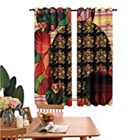 dsdsgog Thermal and Sunscreen Curtains Colorful Traditional Russian Pattern Flowers...