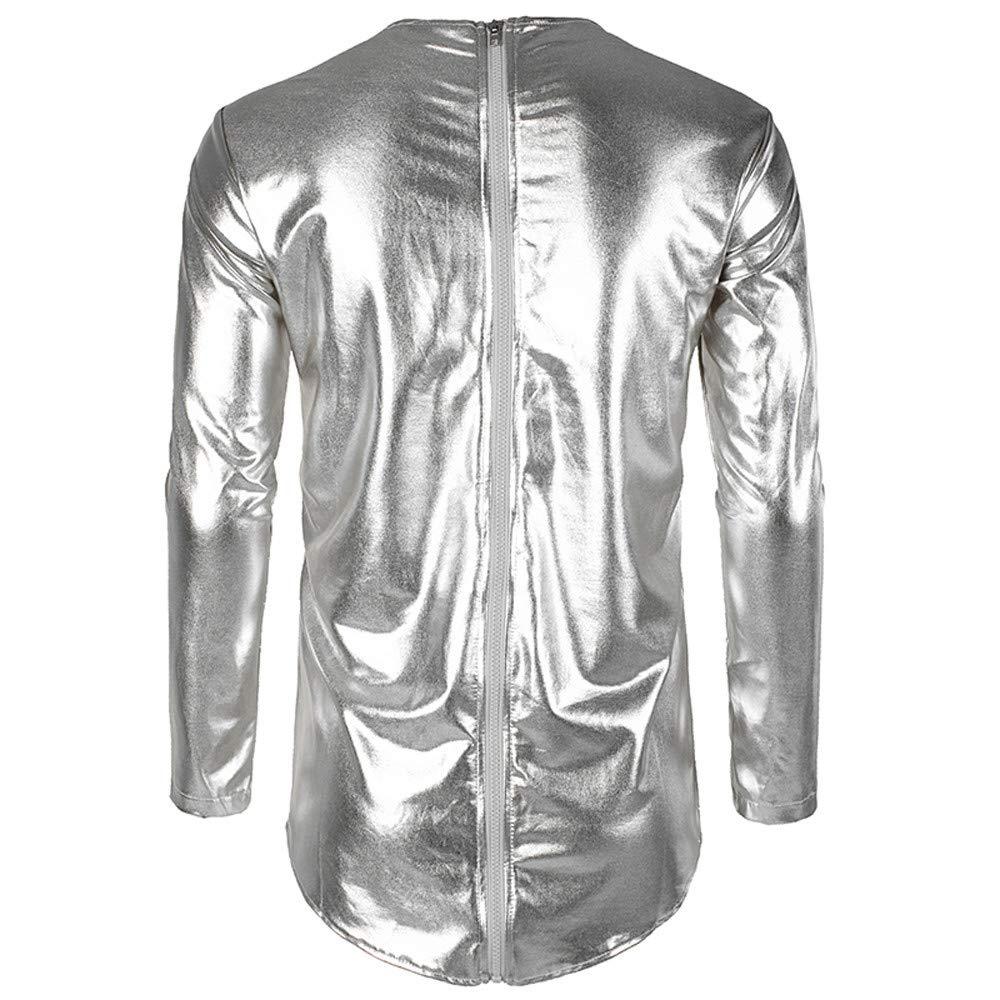 Realdo Mens Nightclub Shirts Mens Metallic Bright Styles Long Sleeves Front Back Zip Tee T Shirts