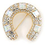 Clear And AB Crystal Horseshoe Brooch In Gold Plating - 35mm
