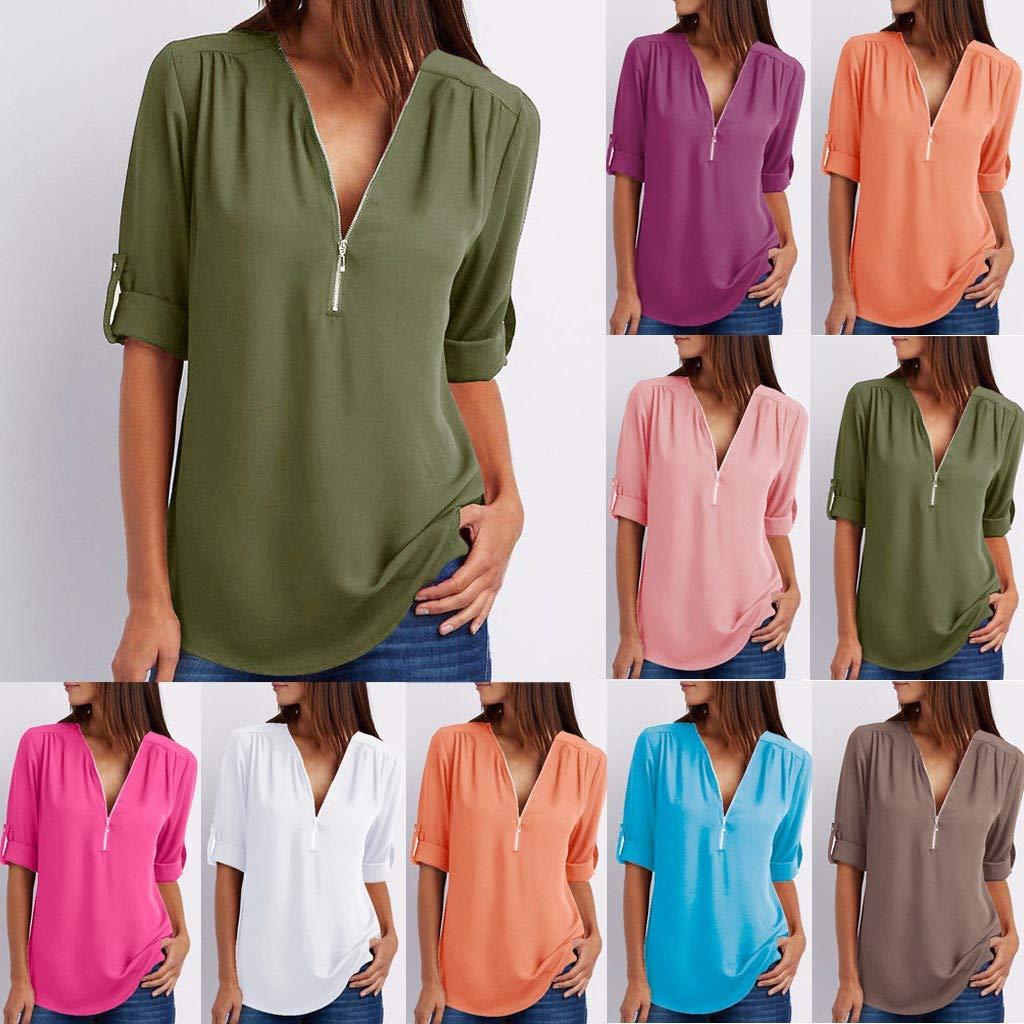 LRWEY Camisetas para Mujer, Mujeres Damas botón de Cremallera ...