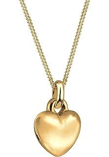Goldhimmel Damen Schmuck Echtschmuck Halskette Kette Anhänger Herz Sterling  Silber 925 Vergoldet Länge 45 cm 1f93656b35