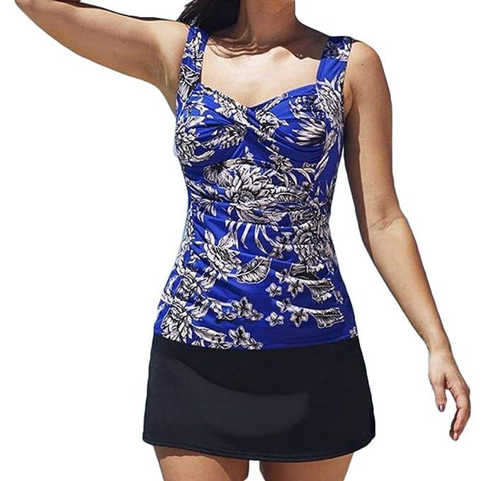Bañadores Mujer Moda Floreadas Talla Grande Tankinis Set Elegantes Túnica Vintage Casual Verano Beach Trajes De Baño Fiesta Bañadores Dos Piezas: Amazon.es: ...