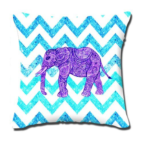 Buythecase Unique Fashion Design two sides print Satin fabric Purple stripe Indian Elephant Throw Pillow Cover(size 45 CM X 45 CM) ()