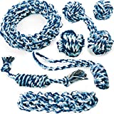 Chewers Play Dog Rope Toy for Medium Dogs & Puppy, Teething, Tug War – Tough Dog Toys Set 7-Piece Assortment, Blue Review