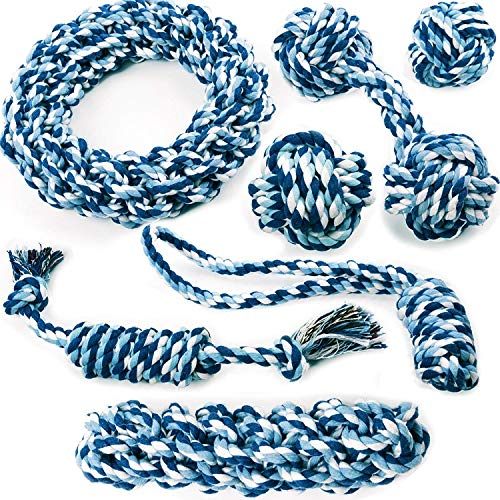 Friends Forever Chewers Play Dog Rope Toy for Medium Dogs & Puppy, Teething, Tug War - Tough Dog Toys Set 7-Piece Assortment, Blue