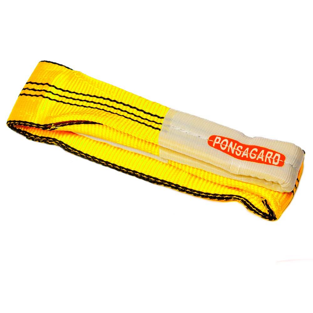PONSAGARD 030191003108 –  3t-3 m Sangle polyester plat 3000 kg –  3 m, avec traitement, anti-coupure laté rale contre coupures et abrasions anti-coupure latérale contre coupures et abrasions