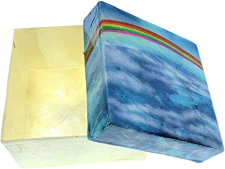 Kubla Craft Rainbow in the Sky Capiz Shell Keepsake Box 3 Inches Square