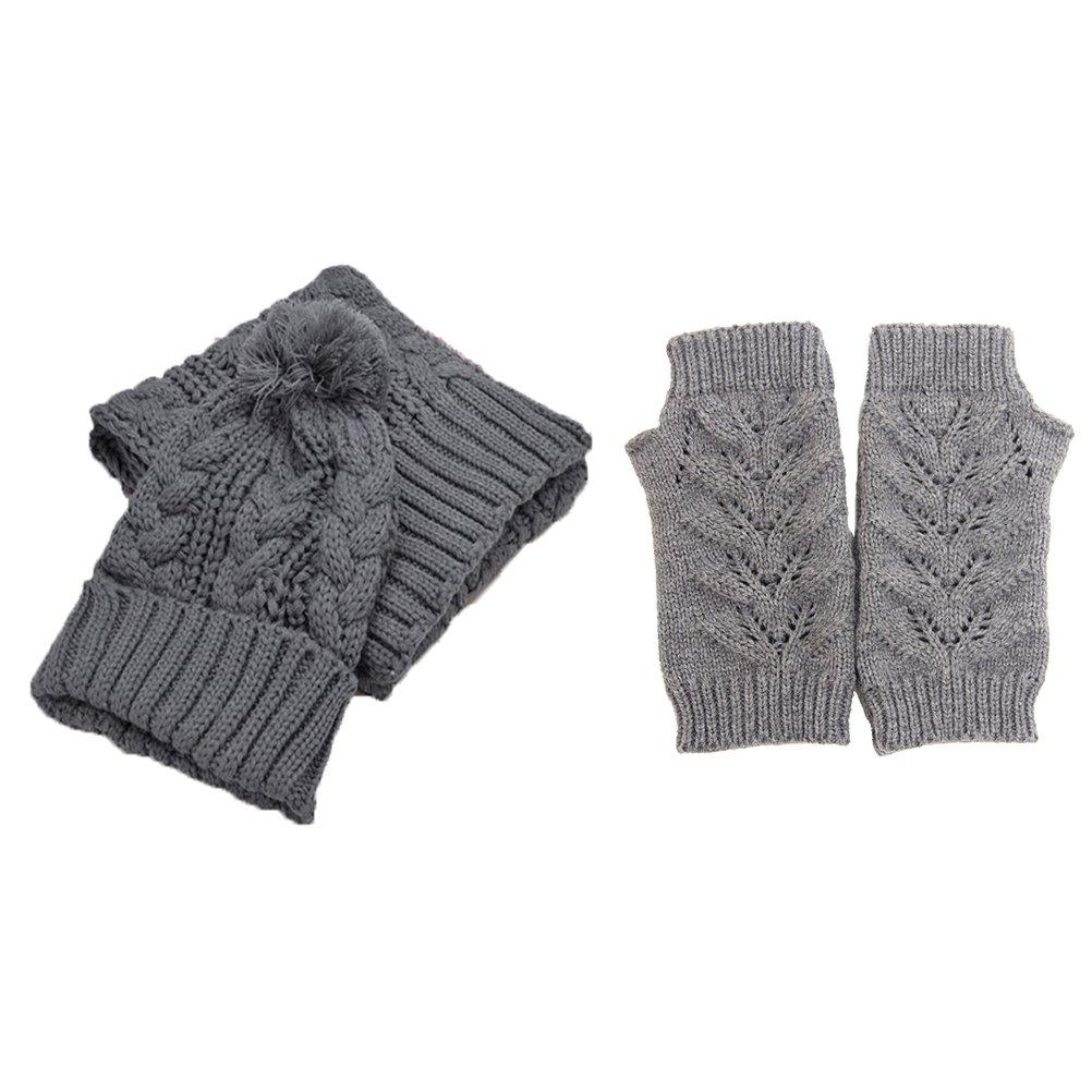 Jelinda Women's Autumn Winter Warm Knitted Hat/Scarf/Gloves Set, Grey