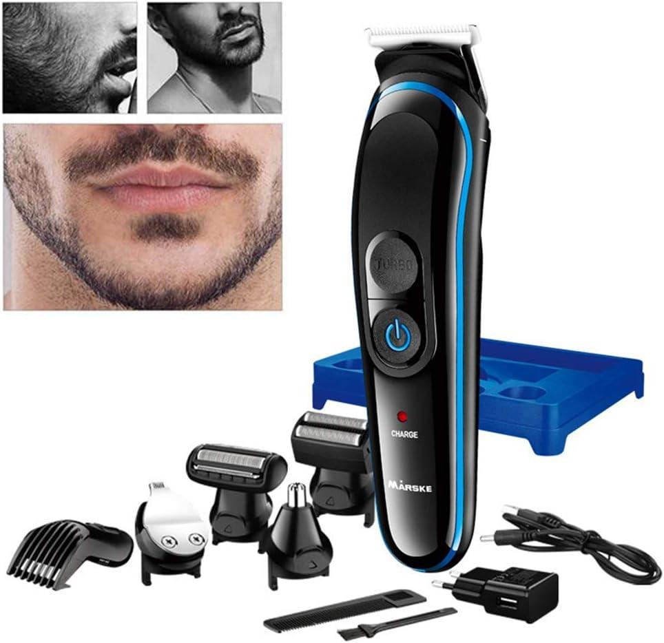 TRF Kit de recortadoras de Barba para Hombres, húmeda y Seca, máquina de Afeitar eléctrica inalámbrica Máquina de Afeitar cortadora de Cabello Máquina de Afeitar Impermeable 5 en 1: Amazon.es: Deportes y