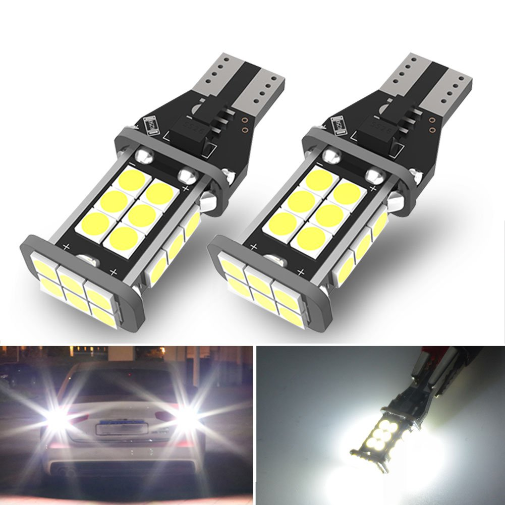 YITAMOTOR 921 912 LED Backup Light Bulbs 2835 15-SMD Chips Error Free T15 906 W16W for Back Up Lights Reverse Lights, 7000K Xenon White 10-16V