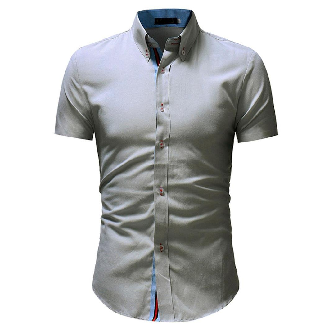 Easytoy Mens Thin Stripe Slim Fit Button Down Short Sleeve Dress Shirts at Amazon Mens Clothing store: