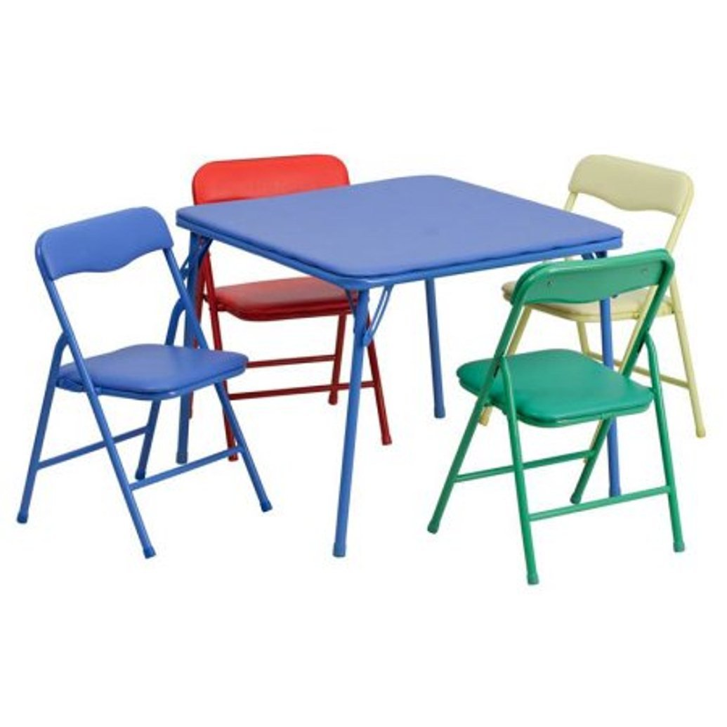 Colorful 5 Piece Folding Table and Chair Set furniture flash new children fun