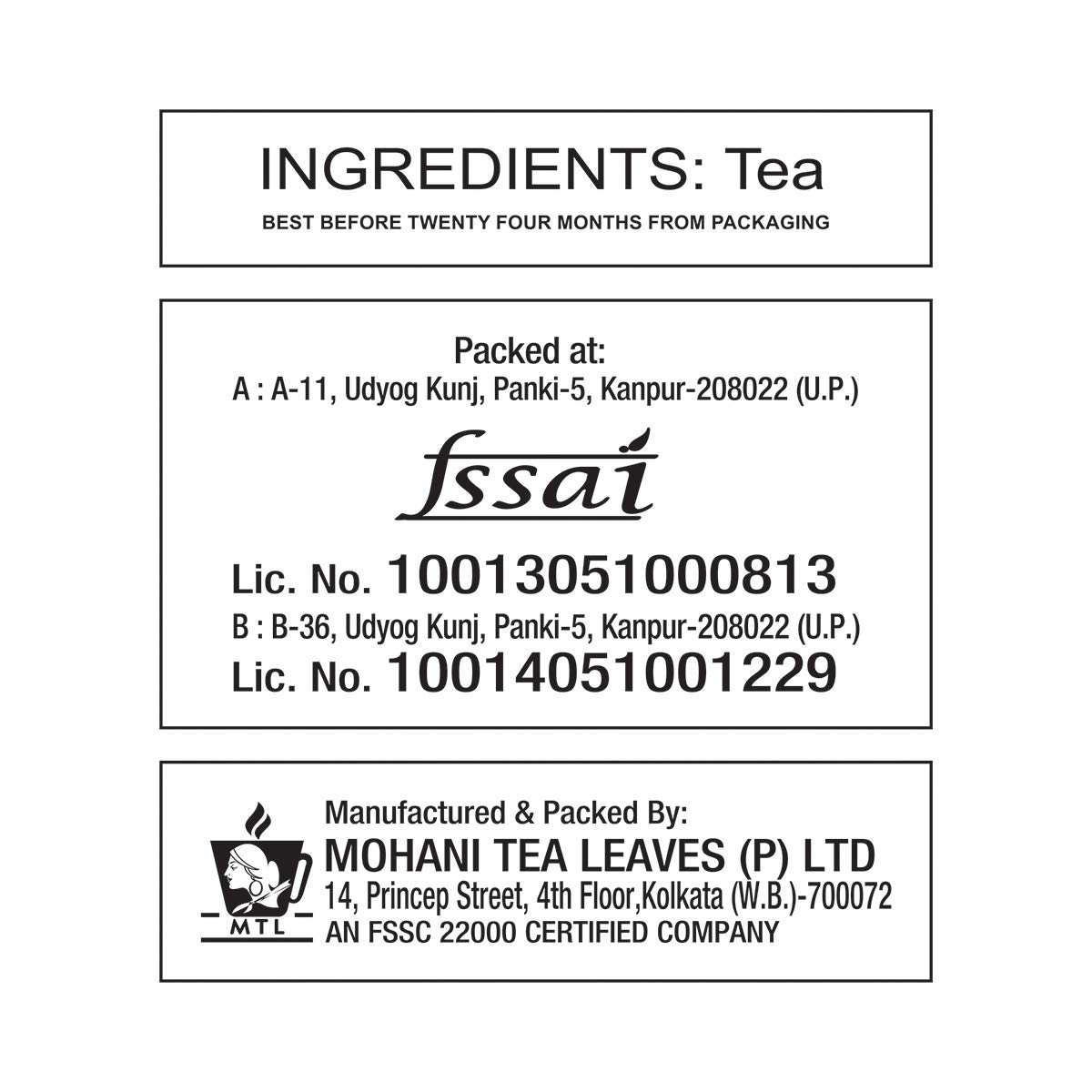 Mohani Evergreen Tea, ( 250 gm X 4)
