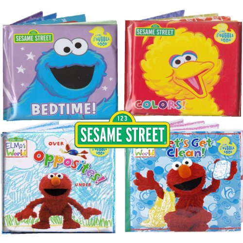 Sesame Street® Bath Time Bubble Books Featuring the Elmo, Grover, Big Bird, and Cookie Monster (Set of 4)