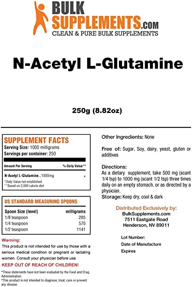 BulkSupplements N-Acetyl L-Glutamine Powder 250 Gram