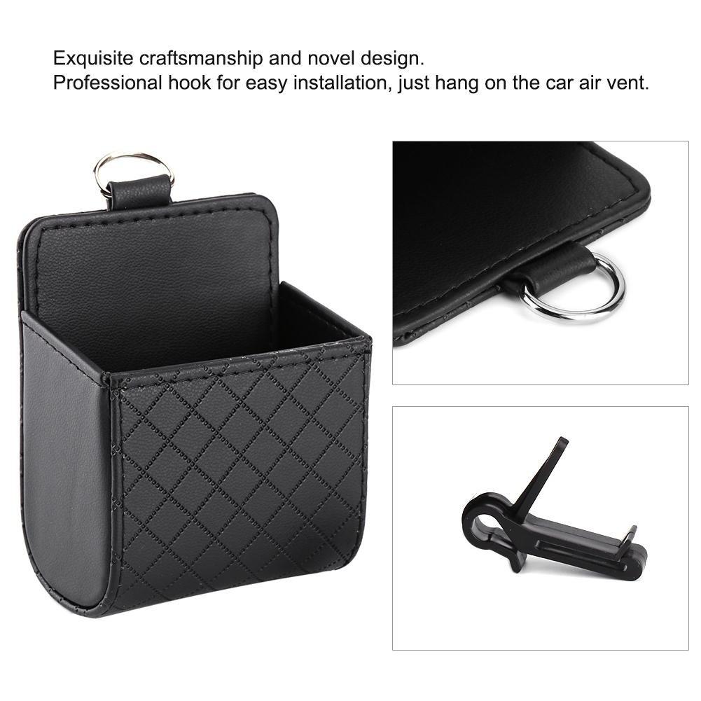 Automotive Storage Bag PU Leather Multifunctional Car Phone Case Box Holder Pocket Black Qiilu Car Air Vent Outlet Organizer Box