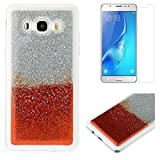 For Samsung Galaxy J5 2016 J510 Glitter Case with Screen Protector,OYIME Luxury Shiny Design Ultra Thin Slim Fit Soft Silicone Rubber Bumper Scratch Resistant Protective Back Cover - Red