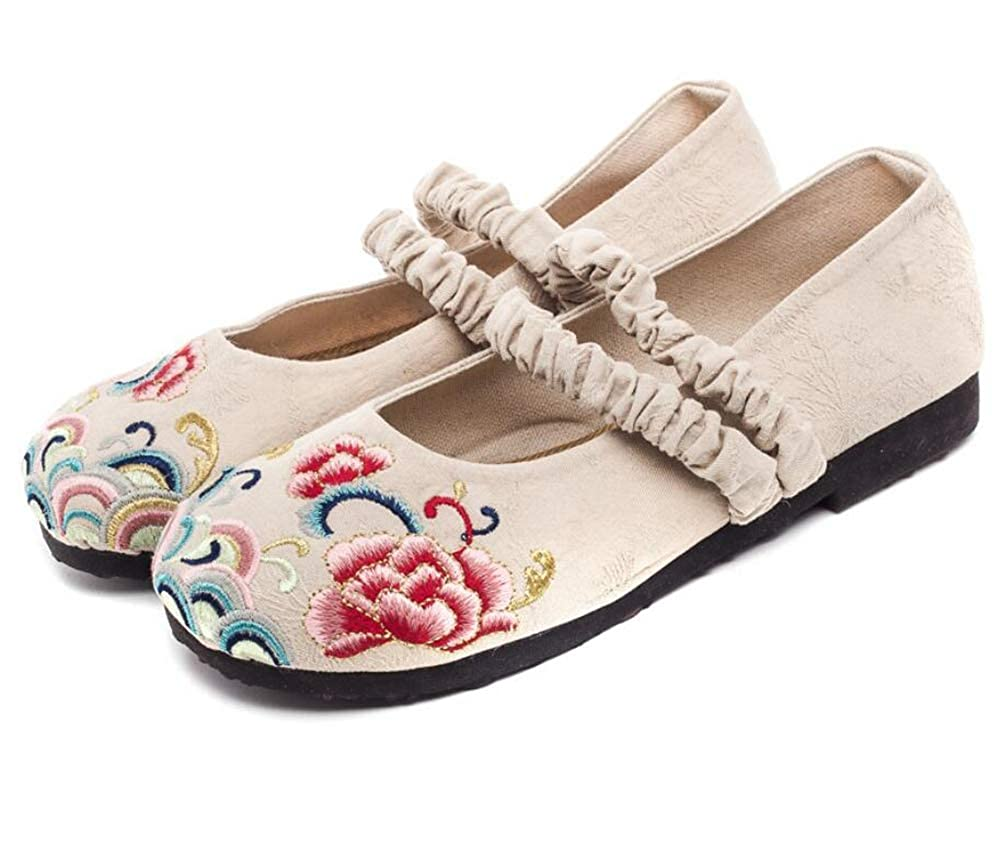 Gusha Womens Embroidered Mary Jane Shoes Comfortable Flat Shoes