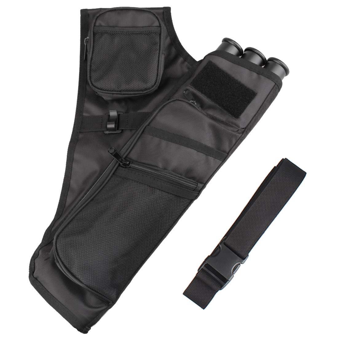 Kratarc 3-Tubes Hip Quiver Waist Hanged Camouflage Arrow Archery Carry Bag with Pockets Adjustable Belt (Black)